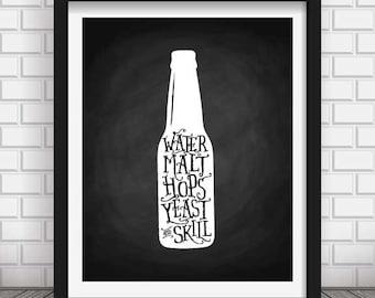 BEER poster, Chalkboard Kitchen decor, Chalkboard wall art, beer print, beer poster, kitchen art, kitchen decor, home decoration, beer decor