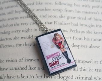 Bridget Jones's Diary Handmade Mini Book Necklace / Clay Miniature Books Jewelry - Book Lover Gifts (SKU: FN2-18)