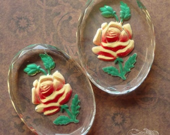 Vintage Glass Cabochons  30x40mm Yellow Rose Intaglios (choose 1 pc or 2 pc)
