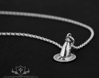 Sterling silver Witch's Hat pendant on a sterling silver belcher chain. Cute, Goth, Wicca.