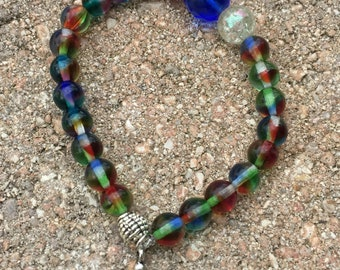 Handmade Bracelet Unique Bracelet Czech Glass Bracelet Crystal beads Bracelet Pewter/Amazonite Bracelet