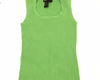 90s Ribbed Crop Top Lime Green