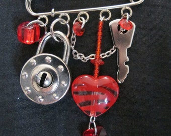 Heart and Lock Charm Brooch