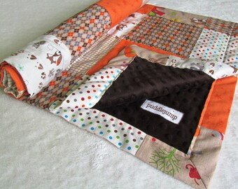 Fox Trails Patchwork Baby Blanket with Brown Minky