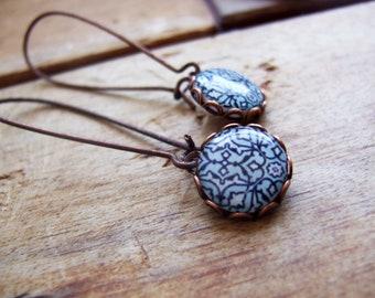 Blue Islamic tile drop earrings, extra long, copper, MTO, geometric jewelry, tribal jewelry, Arabic jewelry