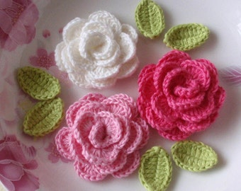 3 Crochet  Roses With Leaves YH - 138-10