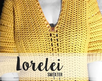 Crochet Pattern // Lorelei Sweater (Adult) // Easy