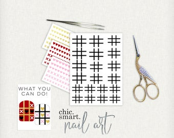 Valentines Nail Decals V. 18 - Tic Tac Toe - X and Heart  - Vinyl Nail Decals : 21 Color Choices