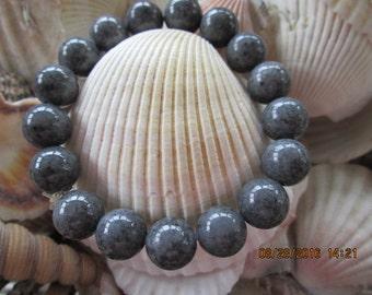 205  Gray Jade beaded handmade bracelet