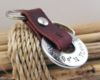 Coordinates Key Chain, Anniversary Gift for Him, Valentine, Men's,  Gift for Husband, Gift for Boyfriend, Anniversary, Wedding, Birthday