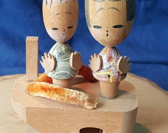 On Sale! Beautiful Vintage Kokeshi Doll Long Heads on Geta Shoe