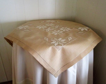 Vintage Tablecloth Luncheon Size With Drawn Thread Work/ Vintage Small Tablecloth/ Beige Table Topper/ Vintage Table Linens,