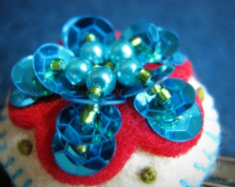 Teal Blue Felt Sweater Clips