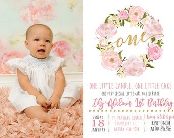 Pink Floral First Birthday Pink Watercolor Birthday Invitation, Flowers, Floral, Shower Invitation, Floral Invite, Flower Invite