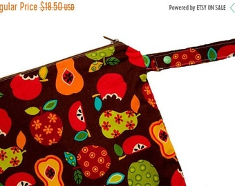 Spring Sale Fruit Filled Day- 14x14 Sweet Bobbins Wet Bag - SEAM SEALED - Snap Strap - Boutique Quality