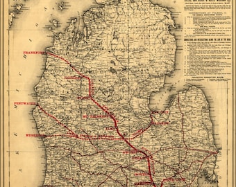 Poster, Many Sizes Available; Map Of Toledo Ann Arbor N Michigan Railroad 1886