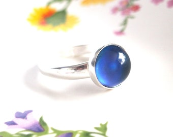 Adjustable Mood Ring, Sterling Silver with Color Changing Mood Stone