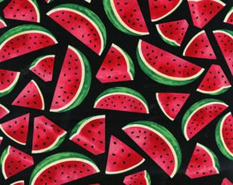 Watermelon Slices on Black fabric