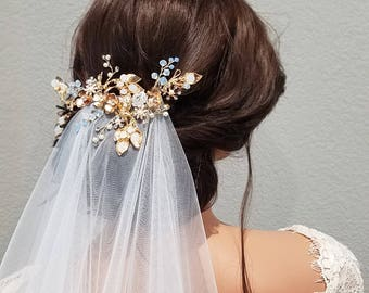 LILY   Gold Bridal Hairpiece with Flowers and Pearls - Free Shipping