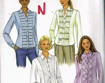 Size 18-22 Misses' Plus Size Blouse Pattern - Fitted Long Sleeve Blouse - Pleat Front Blouse - Bias Front Blouse - Butterick 4023