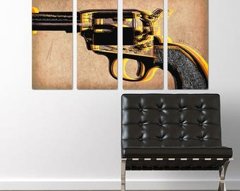 Revolver Handgun Quadriptych Metal Wall Art Pop Art