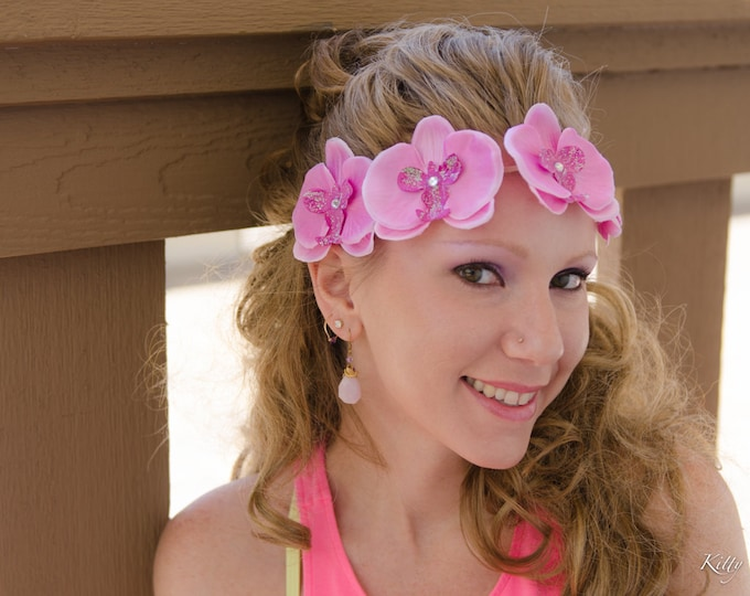 Pink Orchid Flower Crown