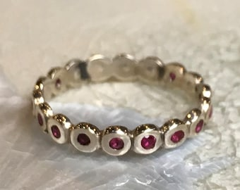 Rubies Ring, Sterling silver Ring, eternity ring, infinity ring, skinny ring, wedding band, multistone wedding ring - Love actually R2558
