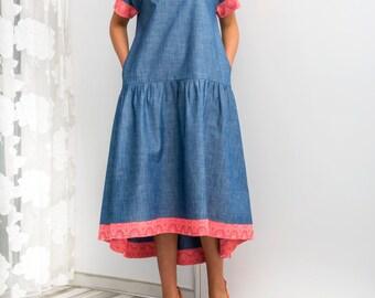 Denim Maxi Dress, Denim dress, High Low dress, Blue Dress, Party dress, Blue Maxi dress, Dress with pockets
