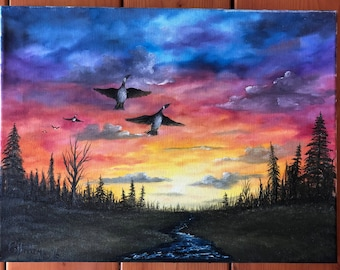 Sunset geese oil painting