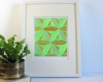 Book Paper Art Collage - Fluorescent Green Wall Decor - Gold Diamond Stars - Story Reconstructed No24 - Contemporary Art - Modern Home Decor