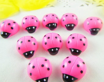 12pcs Pink Insects kawaii Resin flatback Cabochon 13x15mm