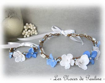 All flower Crown with blue and white wedding bridesmaid Fascinator hair accessory