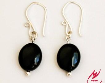 Oval Black Agate Earrings, Sterling Silver Earrings, Black Earrings, Gemstones Earrings, Bridal Jewelry, Minimalist Earrings, Oval Earrings
