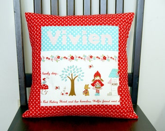 Little Red Riding Hood Personalized Quilted Cushion Cover ~ Pillow Cover ~ Decorative Pillow ~ 14 x 14 inch (35.6cm x 35.6cm) ~ 100% cotton