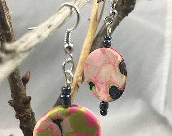 pink boho polymer clay circles