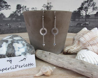 """Silver earrings graphic Crystal Silver """"Ring"""""""