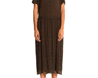Vintage Early 1920s Beaded Silk Dress in Phenomenal Condition   Size: XS/S/M