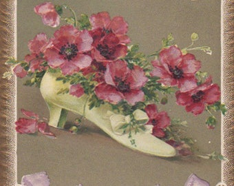 Shoe Filled With Red Poppies And Lavender Ribbons Original Antique Postcard