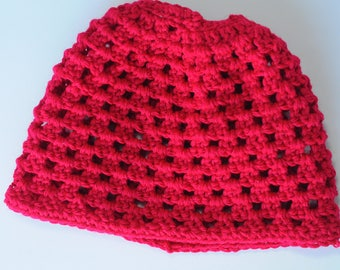 Handmade Crochet Adult Messy Bun or Ponytail Beanie