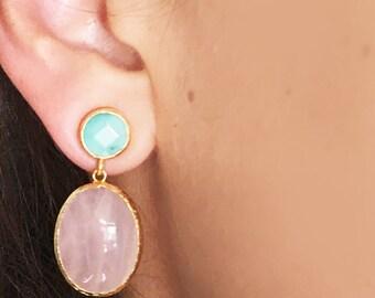 Pink quartz and apple jade Earrings, pink wedding, long earrings, bridal earrings, pearl earrings, pink quartz earrings, dangling earrings