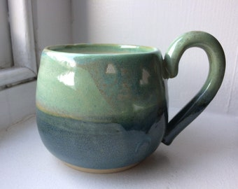 Handthrown Pottery Two-tone Green/Blue Ceramic Mug