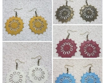 Painted Filigree Flower Earrings