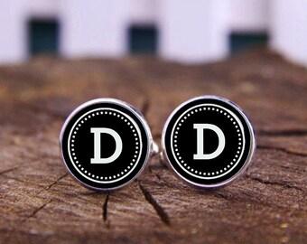 Wedding Cufflinks, Monogram Cufflinks, Black And White Cuff Links, Custom Fonts Or Background Cuff links, Custom Wedding Cufflinks, Tie Clip