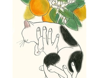 """Cat print - Cat Artwork  Aloft in the Orchard  - 8.3"""" X 11.7"""" - 4 for 3 SALE"""
