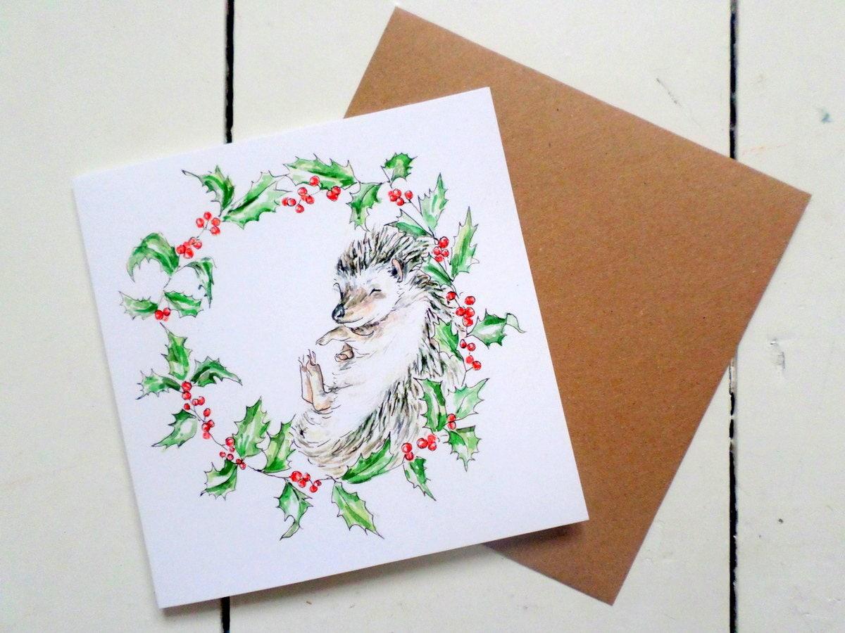 Hedgehog christmas cards cute festive card yuletide zoom kristyandbryce Choice Image