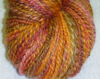Sunrise at Sunset Art Yarn - 141 yards - 2ply - Thick and Thin - Handspun - Knit - Crochet - Weave - Fiber Arts etc.