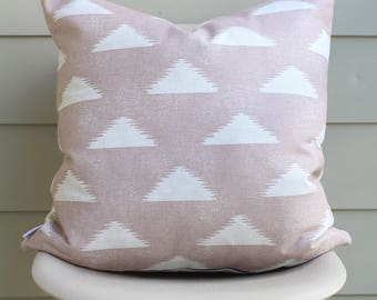 """22"""" x 22"""" Blush Triangle Print Pillow Cover - Blush Pink Pillow - Lightweight Canvas Designer Fabric - COVER ONLY"""