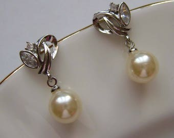 Beautiful Silver Ivory Pearl and CZ earrings