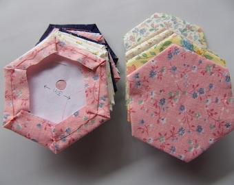 """pre-made English paper piecing hexagons 1.5"""", set of 50 flower print hexagons, EPP made from fabric, , finished EPP hexagon sewing supply"""