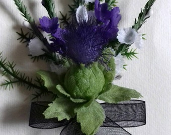 Scottish thistle & heather buttonhole with black organza ribbon, Hand made in Scotland